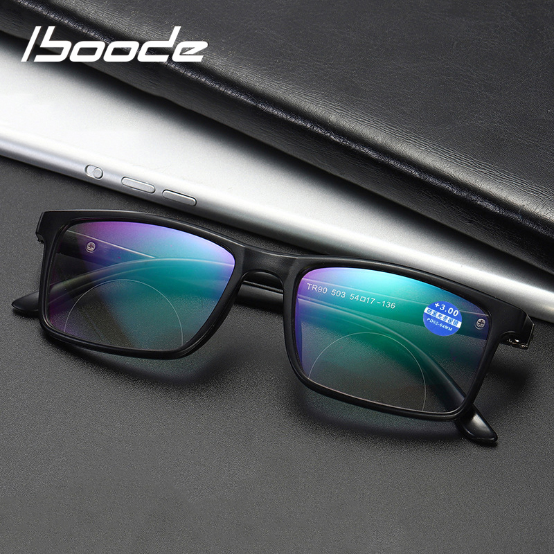 Iboode Bifocal Reading Glasses Men Women Anti Blue Light Resin Lens Glasses With Hyperoia Presbyopia Multifunction Eyewear +1.5