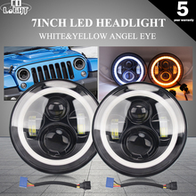 цена на CO LIGHT 7'' 50W 30W Led Headlight Daytime Running Light Angel Eyes for LADA Toyota Niva Auto Motorcycle DRL Headlights 12V 24V