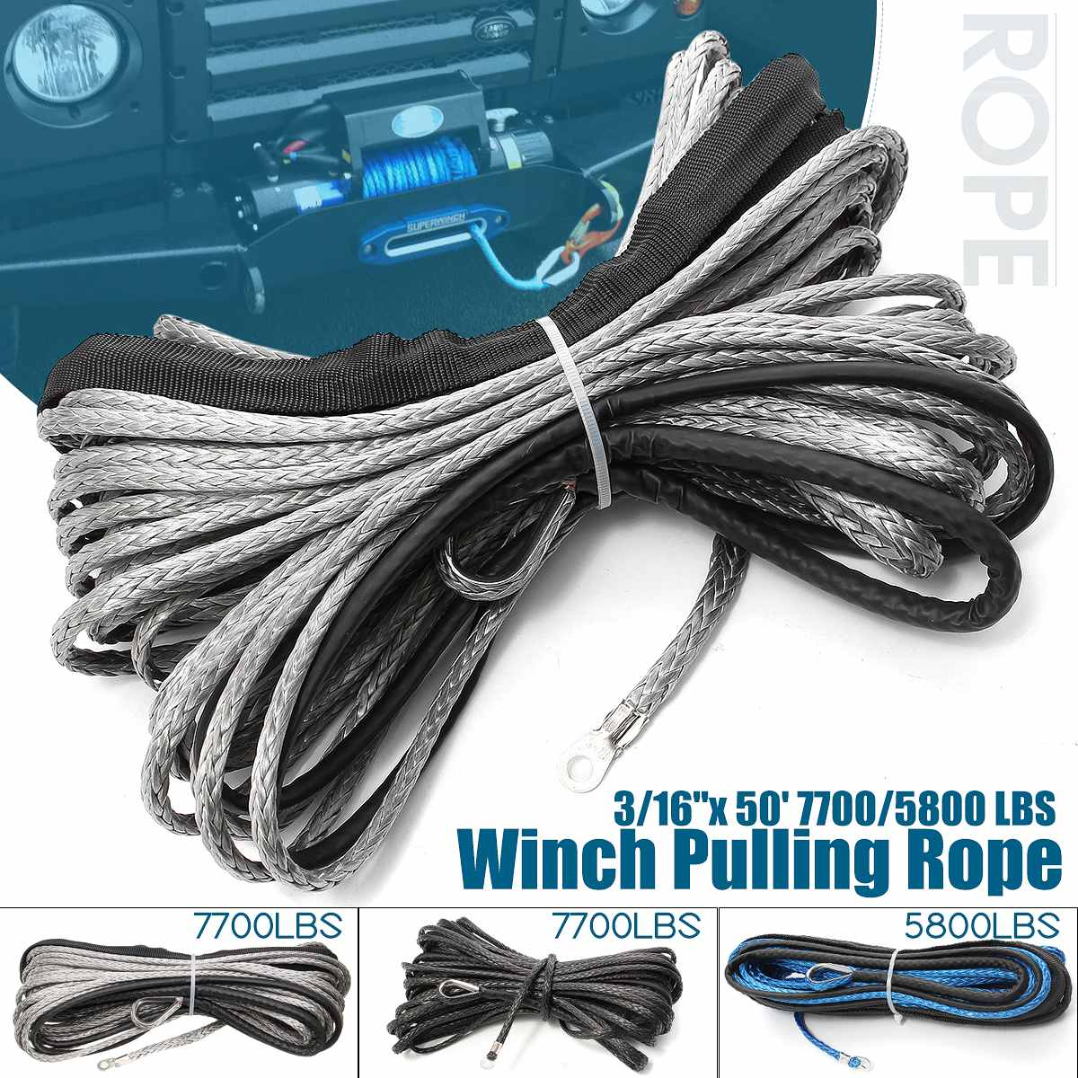 NEW 15m 7700 Lbs Winch Rope String Line Cable With Sheath Synthetic Towing Rope Car Wash Maintenance String For ATV UTV Off-Road