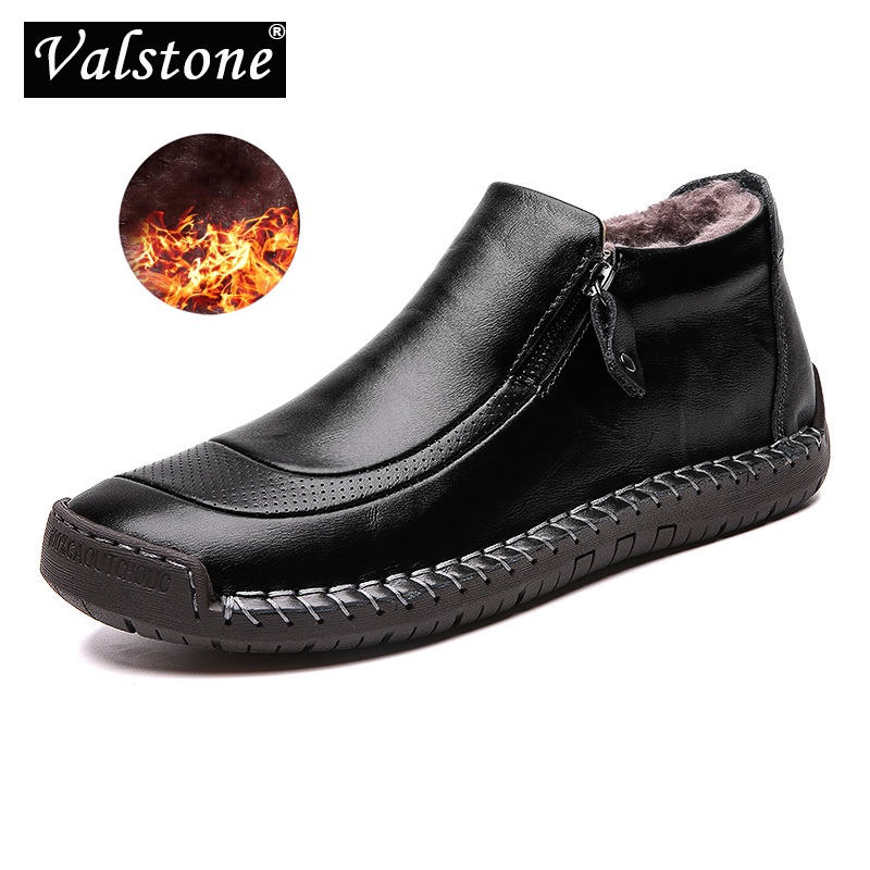 Valstone Handmade Winter Men Casual Leather Shoes Plush Sneaker Zipper High-top Boot Street Shoes Slip-on Moccasins Plus Size 48