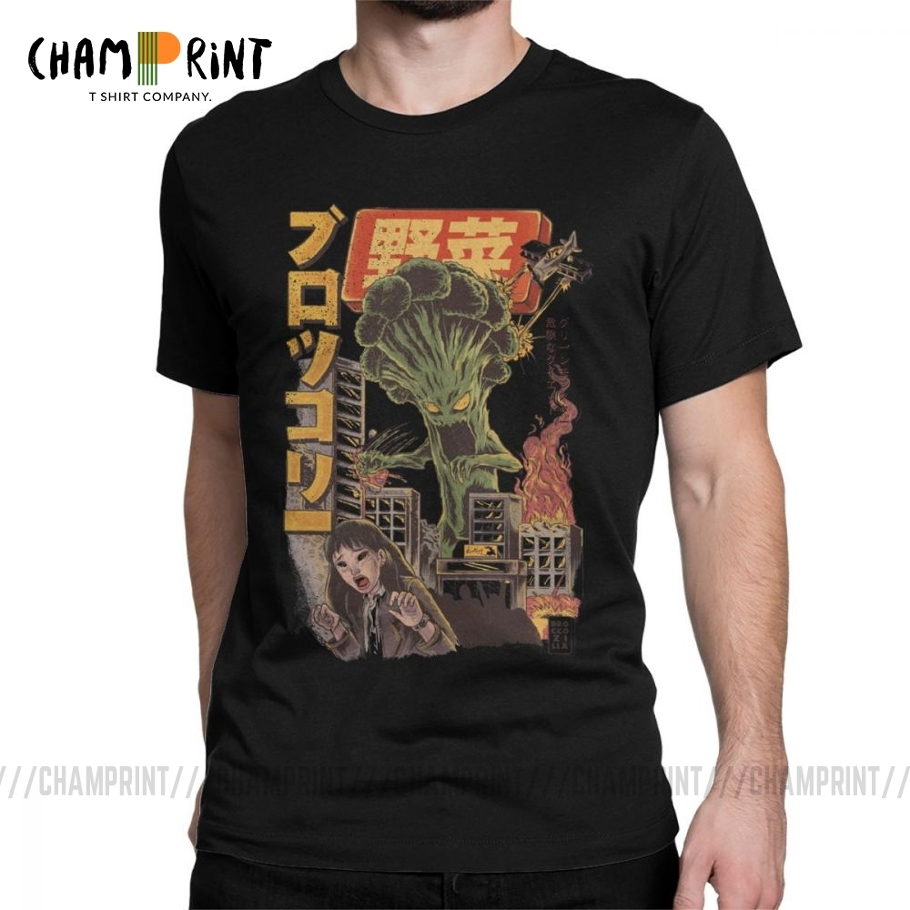 2019 Giant Mushrooms Monster Clothes Demon Broccozilla T-Shirts For Men Broccoli Funny Japanese Anime T Shirts Evil Kaiju Tees