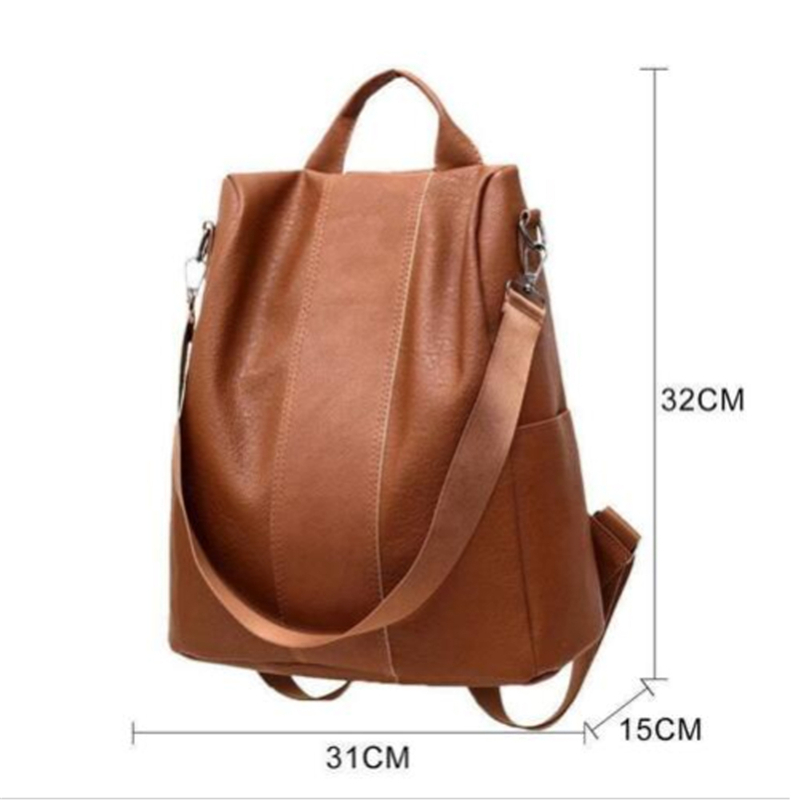 New Casual Womens Leather Backpack Anti-Theft Rucksack School Shoulder Bag Black/Brown 5