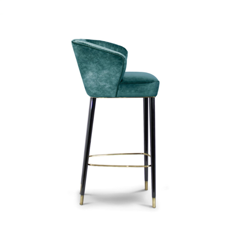 American Real Wood Chair European Cloth Art Stainless Steel Stool Contemporary And Contracted The Receptionist Nordic Bar Chairs