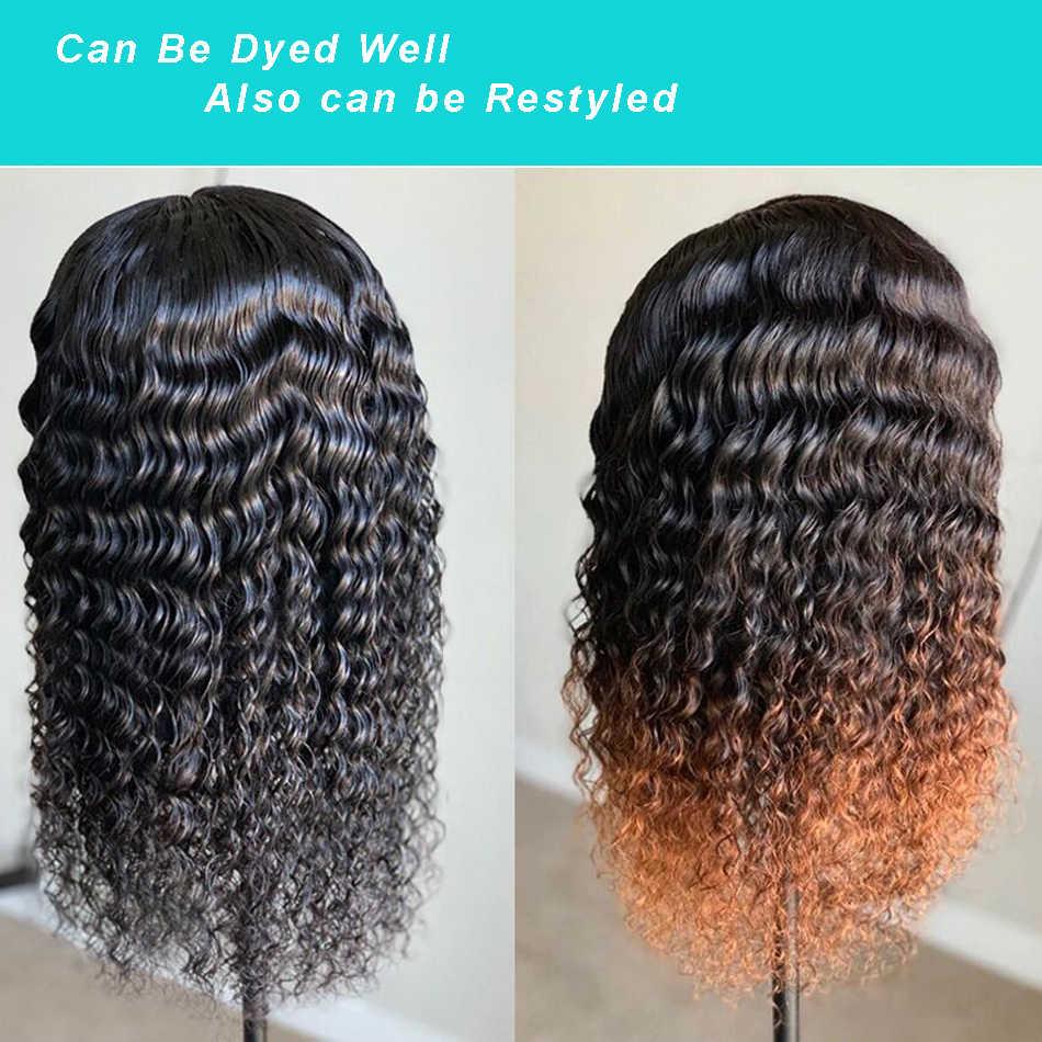 13X4 dantel ön İnsan saç peruk brezilyalı derin dalga İnsan saç peruk ön koparıp Remy kısa kıvırcık peruk siyah kadınlar 150%