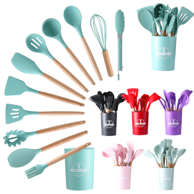 11pcs Silicone Kitchenware Cooking Utensils Set Heat Resistant Kitchen Non-Stick Cooking Utensils Baking Tools With Storage Box 1