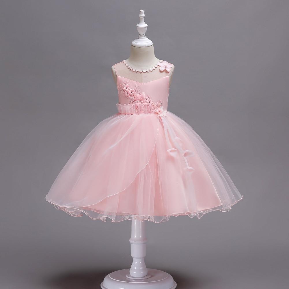 Formal Dress Children Lace Skirt Princess Gauze Dress Sleeveless Dress Small Host Performance Formal Dress