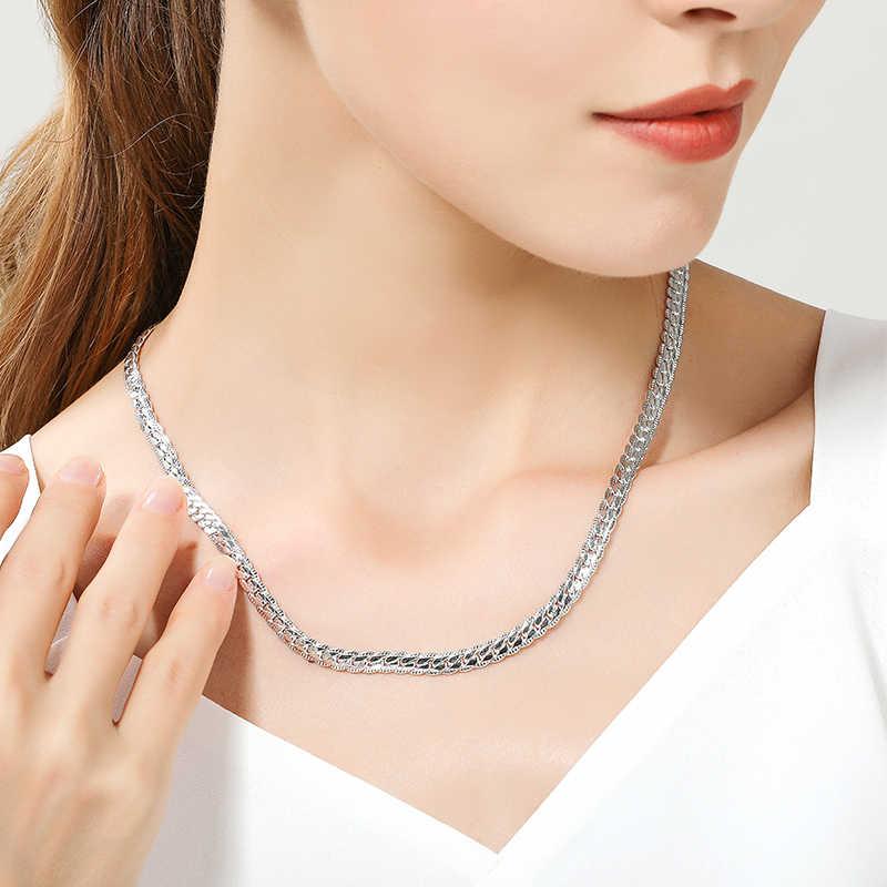 Hot Penjualan 925 Warna Perak Kalung Pesona Wanita Pria 50 Cm Perak 6 Mm Penuh Ke Samping Kalung Fashion Merek Perhiasan pesta Natal