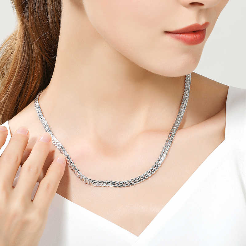Hot sprzedaży 925 srebrny kolorowy naszyjnik urok kobieta mężczyzna 50cm srebrny 6MM pełny boki naszyjnik moda marka biżuteria Christmas Party