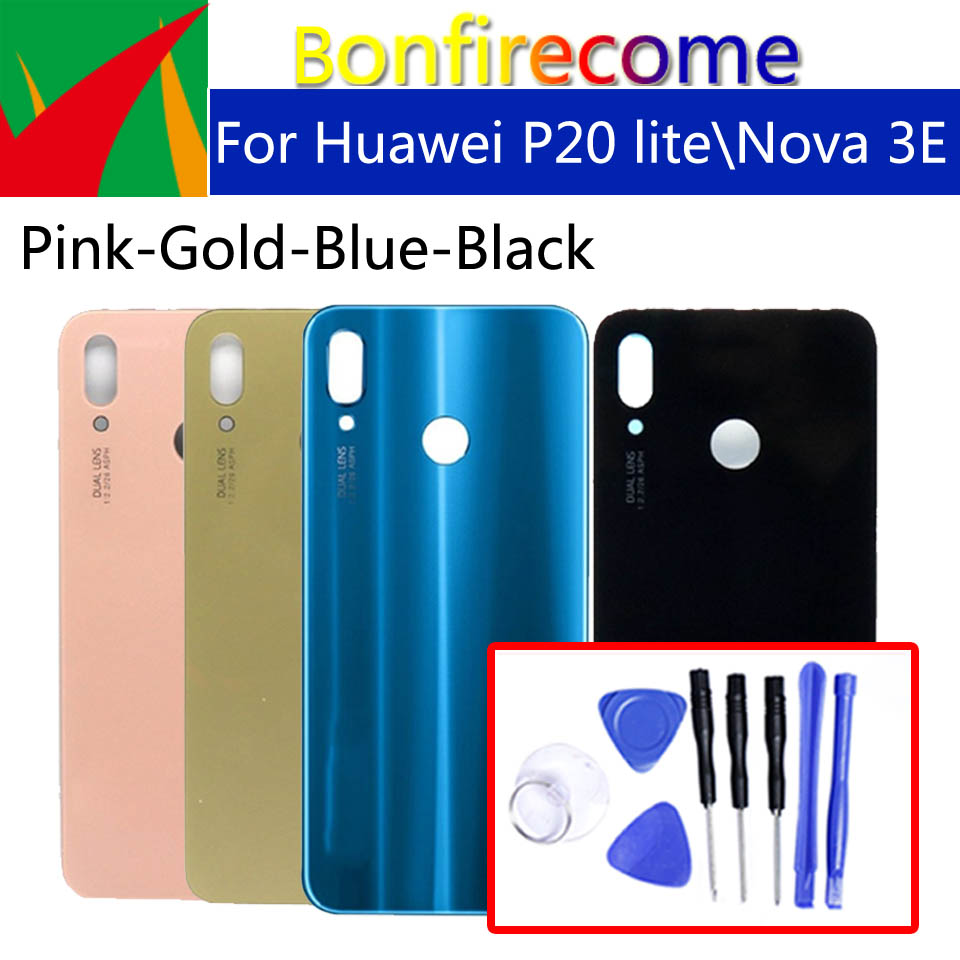 Back Glass For <font><b>Huawei</b></font> <font><b>P20</b></font> Lite <font><b>Battery</b></font> Back <font><b>Cover</b></font> Replacement For <font><b>Huawei</b></font> Nova 3E Housing Case Chassis Shell replacement image