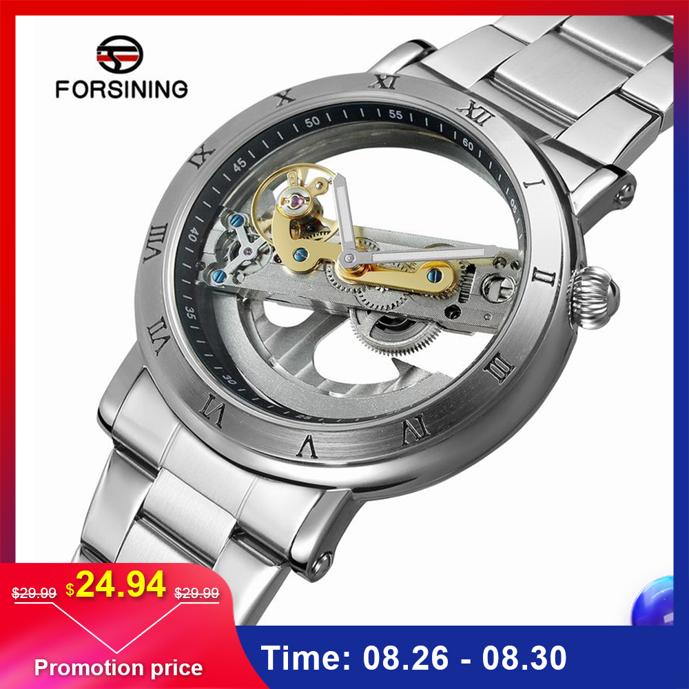 Men Watch Business-Wristwatch Mechanical Skeleton FORSINING Self-Wind Automatic Stainless-Steel/genuine-Leather