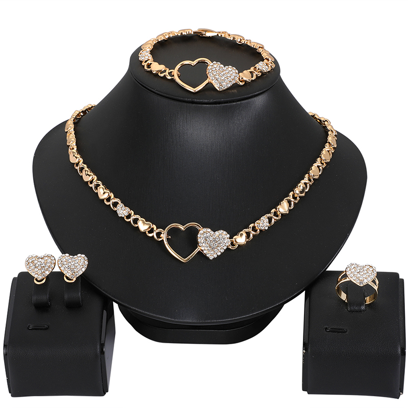 Hot African jewelry set for women Heart necklace set wedding jewelry sets earrings xoxo necklace bracelets gifts