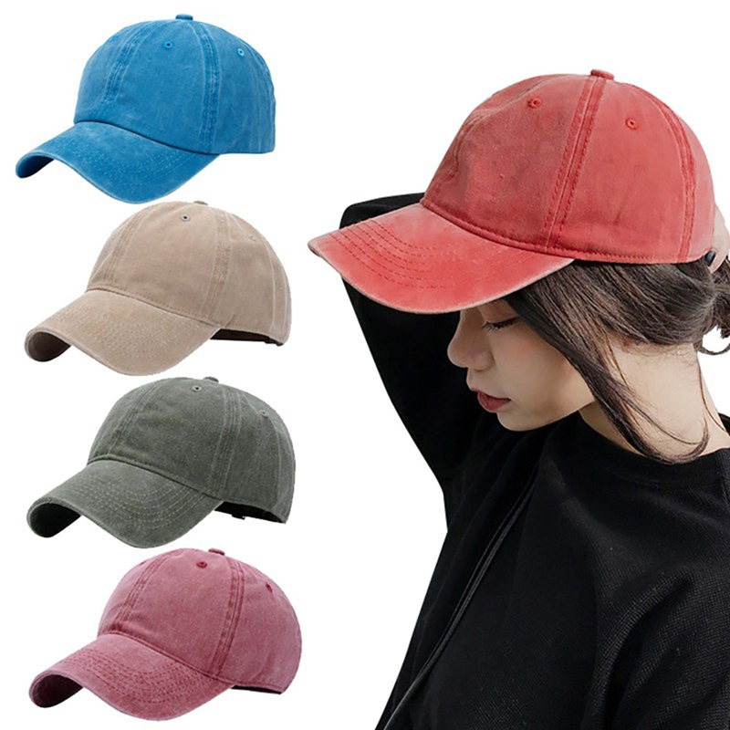 Recommend Couple Cap Washed Cotton Adjustable Solid Color Sport Running Cap Leisure Snapback Cap