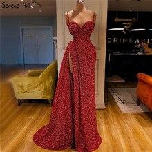 Czerwone luksusowe Sweetheart Sexy Mermaid suknie wieczorowe 2020 dubaj Sparkle wzory z cekinów suknie wieczorowe Serene Hill LA70300