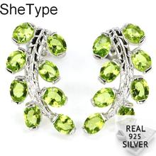 20x11mm 3.3g Deluxe Leaf Shape Green Peridot Wedding Real 925 Solid Sterling Silver Earrings