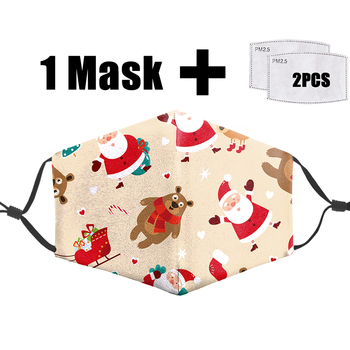 Merry Christmas 3D Printing Mask Pm2.5 Filter Adult Mouth-Muffle Fabric Face Mask Washable Pm2.5 Reusable Dust Bacteria Flu Mask