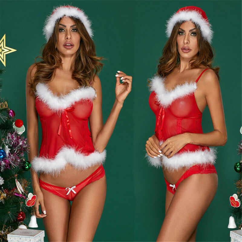 Meihuida Women Christmas Santa Feather Underwear Sexy Lingerie See-Through Pajamas Teddy Sleepwear Xmas Party Wear