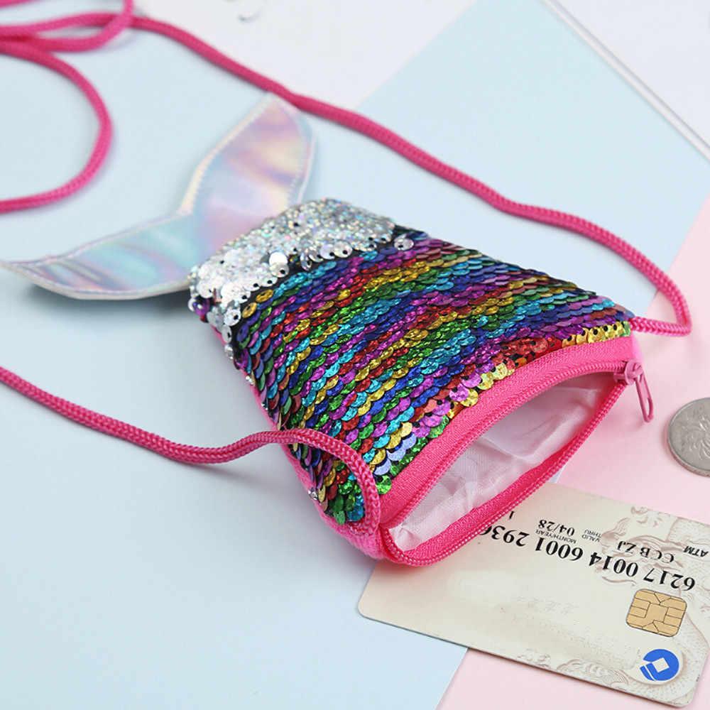 크리스마스 장식 우아한 양 인어 꼬리 고리 버들 지갑 소녀 메신저 가방 슬링 카드 가방 지갑 제로 어린이 선물 # p8