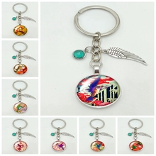 2019 New Hot Color Bird Colorful Pattern Series Glass Cabochon Alloy Jewelry Key Chain Pendant Fashion Gift