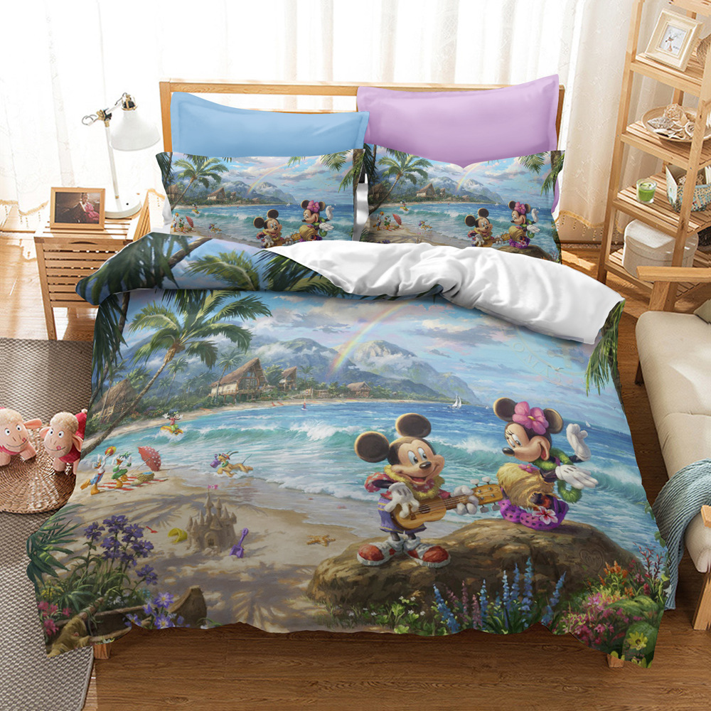 Disney Mickey Minnie Mouse Design Down Bed Cover Pillowcase Children Adult Bedroom Decoration 3D Home Textile Bedding Set