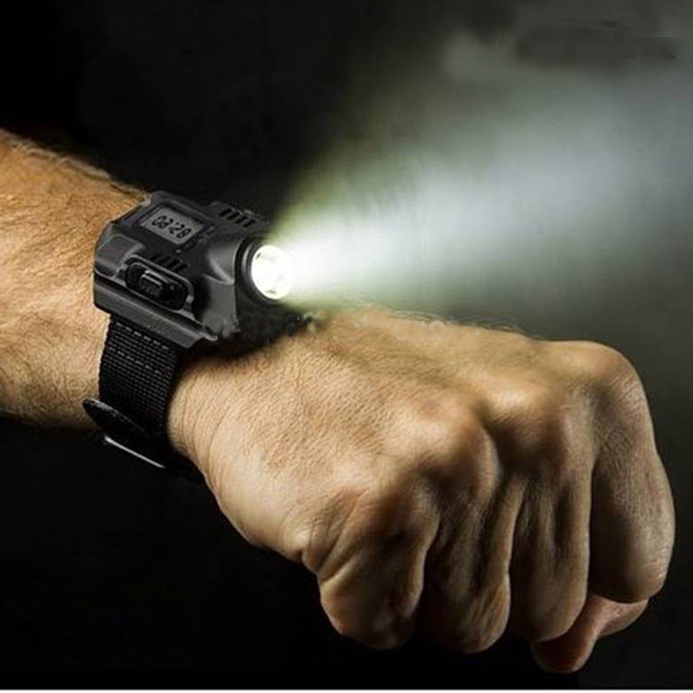 Wrist Light Portable XPE Q5 R2 LED Wrist Watch Flashlight Torch Light USB Charging Wrist Model Tactical Rechargeable Flashlight