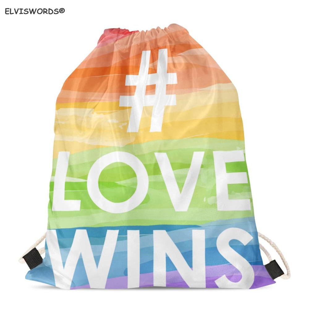 ELVISWORDS LGBT Love Wins Drawstring Bag Pride Love Is Love Printed Bag Customize Logo Back Pack Gym Sack Yoga Bag Gift For Guys