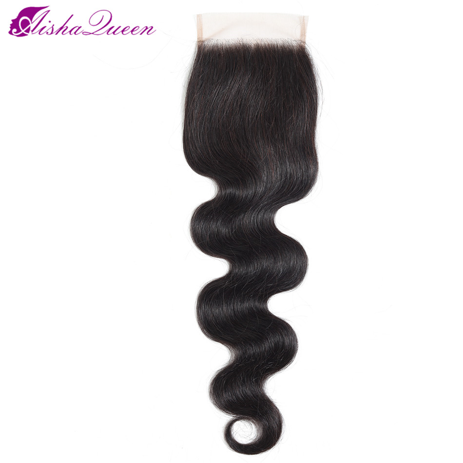 Brazilian Human Hair Closure 4*4 Lace Closure Body Wave Swiss Lace Closure 8-20 Inch Free/Middle Part Non Remy Hair Weaving