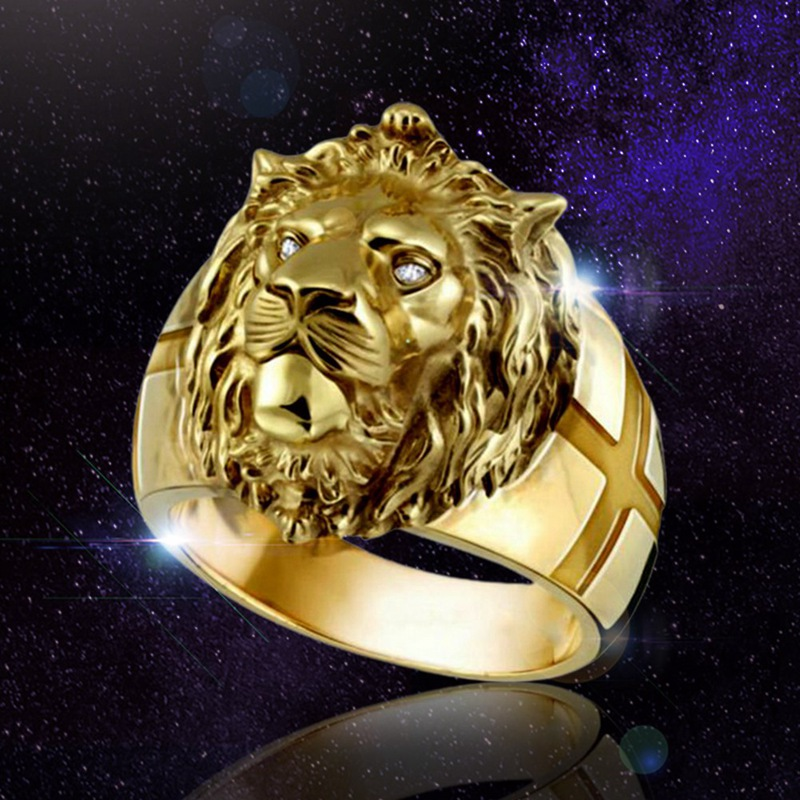 Golden Lion Head Ring Stainless Steel Cool Boy Band Party Lion Ring Domineering Men's Ring Golden Lion Head Ring Unisex Jewelry