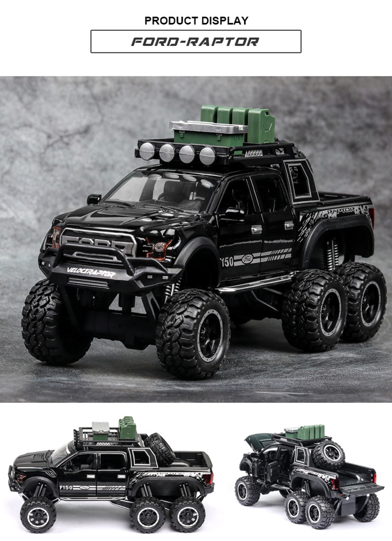 Ford F150 Raptor Pickup Truck Model Car with Sound and Lights 12