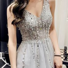 Sexy Tulle Long Prom Dresses 2019 New Arrival Backless Sweep Train Beaded A Line Special Occasion Evening Gowns robe de soriee