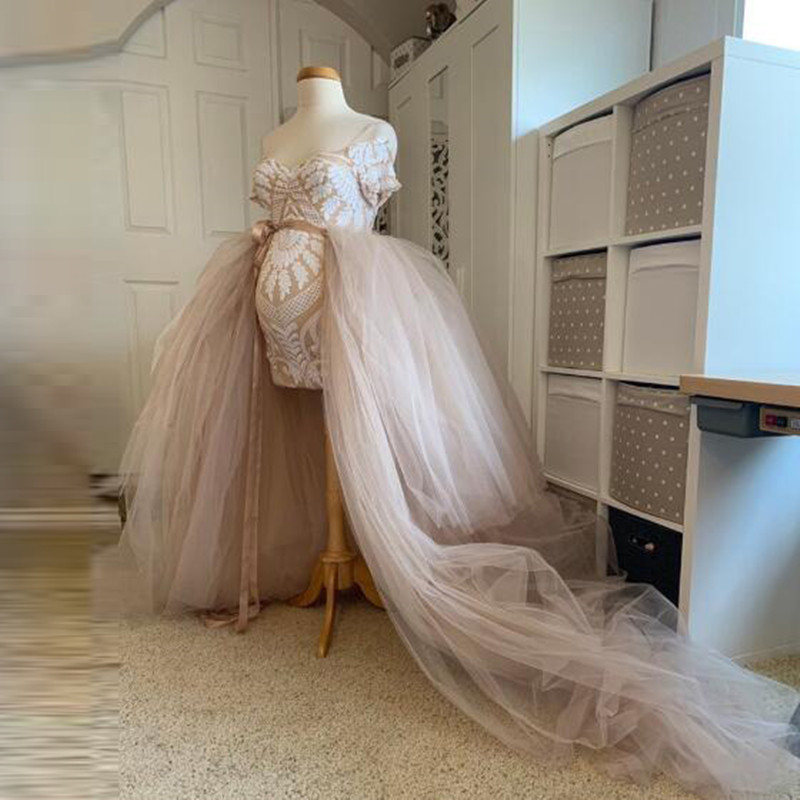 Women Long Tutu Puffy Tulle Skirt Maxi Wedding Bridal Tiered Tulle Skirts Detachable Train Overskirt Overlay Skirts Saia Custom