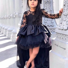 цена на flower girl dresses 2020 little girls pageant dress crew neckline long sleeve lace high front and low back black communion dress