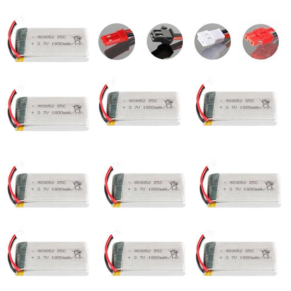 1-10PCS 3.7V 1800mAh lipo Bateria para SYMA KY601S X5 X5S X5C X5SC X5SH X5SW X5HW X5UW M18 H5P HQ898 H11D H11C peças de Helicóptero