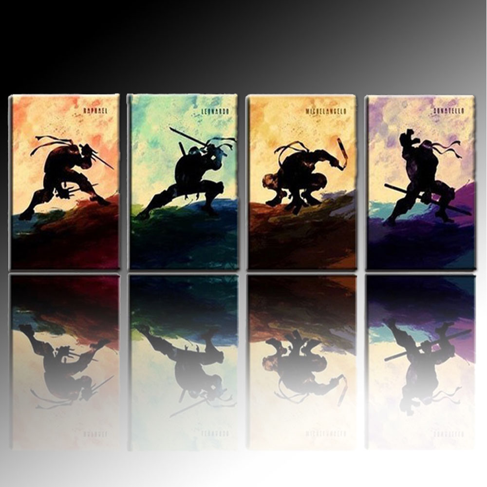 Top Skilled Artist Hand Painted Abstract Cartoon Mutant Ninja Turtles Oil Painting On Canvas For Wall Decoration Paintings