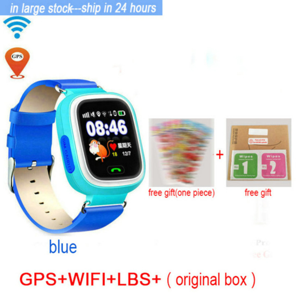 Wristwatch <font><b>GPS</b></font> <font><b>Q90</b></font> Child Smart Watch Phone Position Children Watch 1.22 inch Color LCD Touch Screen WIFI SOS Smart Baby Watch image