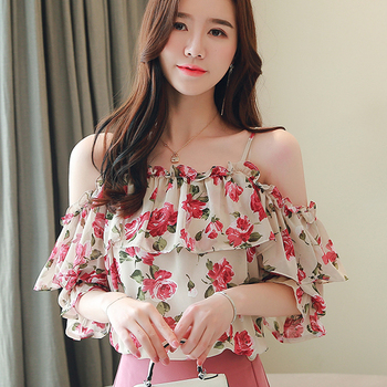 new womens tops and blouses women s floral print camisas mujer v neck short flare sleeve ruffles cold shoulder chiffon blouse Floral Chiffon Shirt 2020 Summer New off-the-Shoulder Ruffled Short-Sleeved Tops Women Camisas Mujer womens clothing 698C