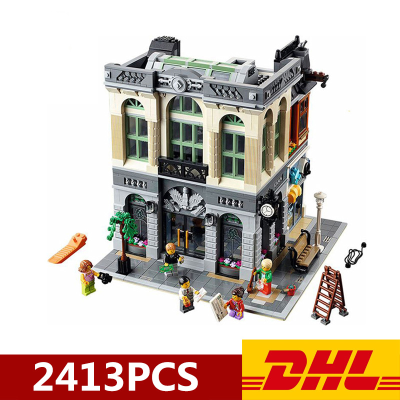DHL 84001 15001 2413pcs City Street View Series Swiss Bank Building Model Compatible <font><b>Legoings</b></font> <font><b>10251</b></font> Blocks Bricks Toy Gifts image