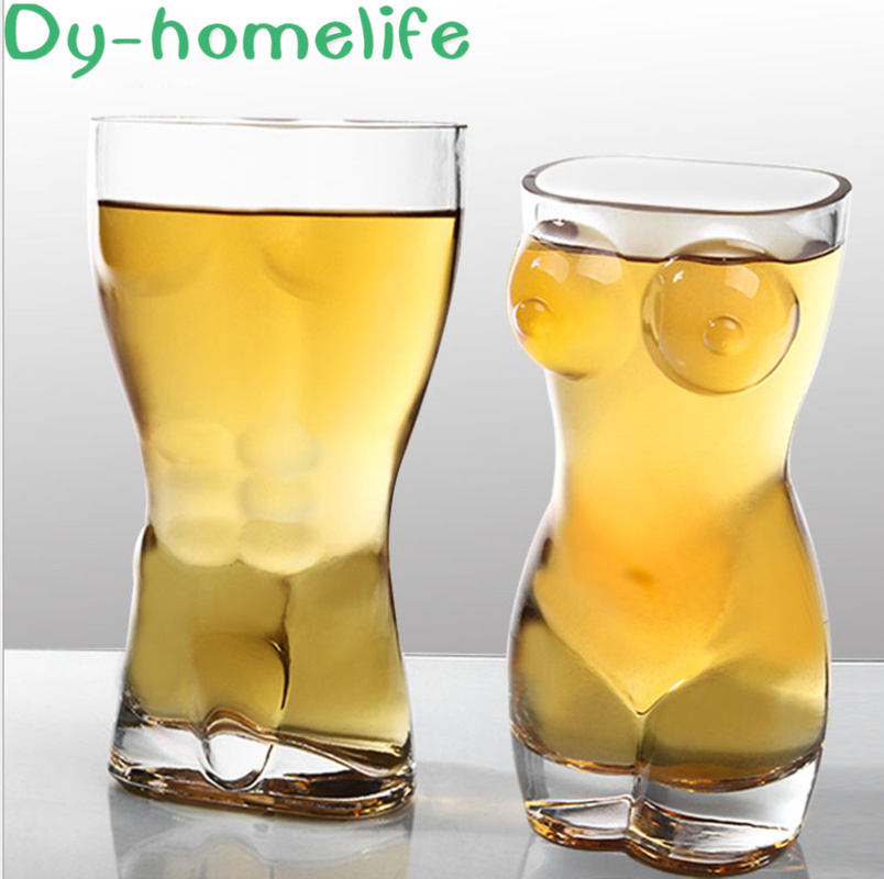 European Creative Transparent Glass Beer Glass American Body Cup Bar Nightclub Macho Beauty Glass Whiskey Vodka Cocktail Glass image