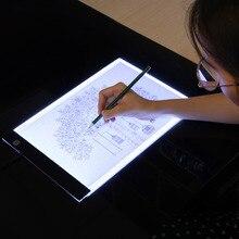 LED อิเล็กทรอนิกส์กระดานไวท์บอร์ด A4 Light Pad การวาดภาพแท็บเล็ต Tracing Pad Sketch Book ผ้าใบเปล่าสำหรับจิตรกรรมสีน้ำสีอะคริลิค