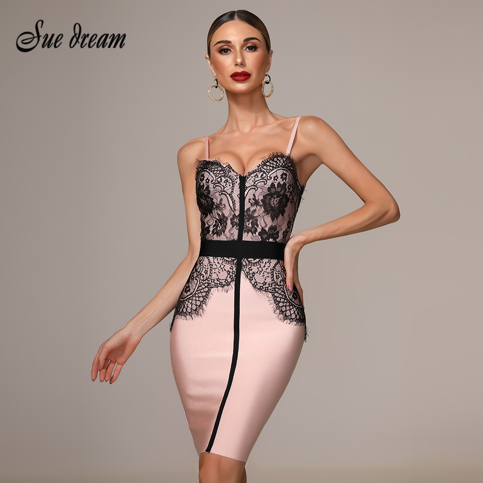 2019 New Women'S Autumn  Pink Tight Dress Lace Stitching Spaghetti V-Neck Sexy Ladies  Knee-Length Bandage Christmas Dress