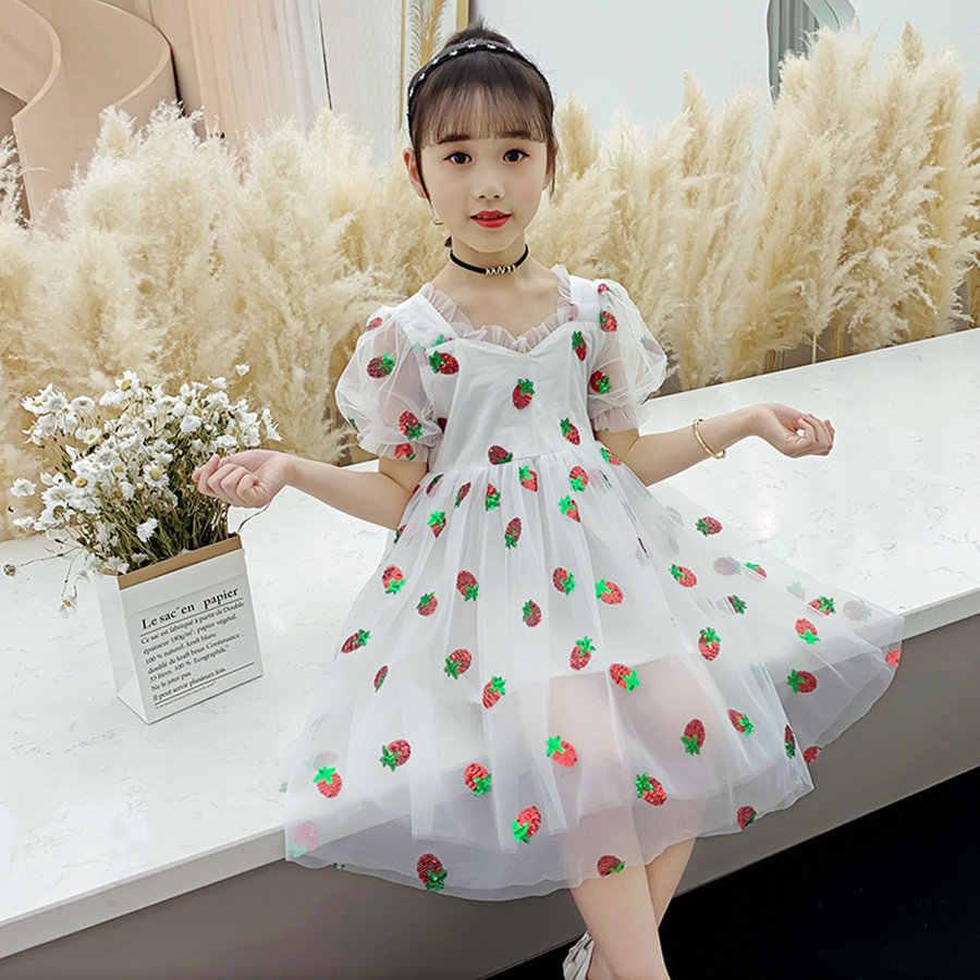 Moda princesa bordado lantejoulas morango volta arco vestido meninas 4-11 anos verão sem costas tule lanterna manga vestidos criança