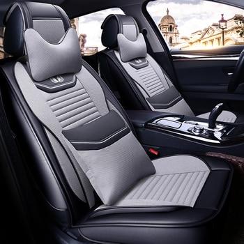 Full Coverage PU Leather car seat cover flax fiber auto seats covers for audi a6allroad quattro audi a7