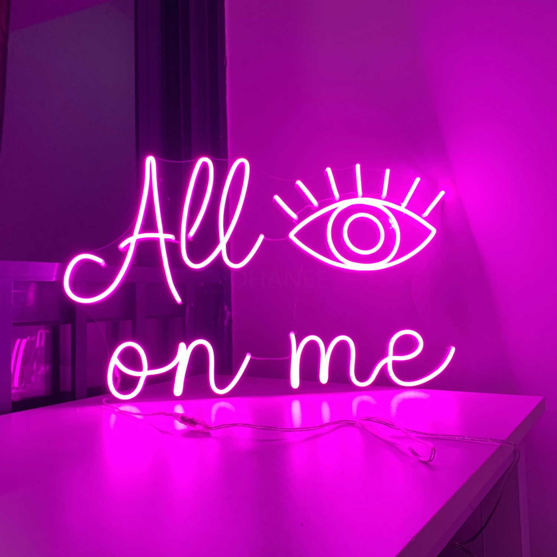 Luz neon de led personalizada para todos os olhos, luzes de parede para casamento, janela, restaurante, aniversário, decoração