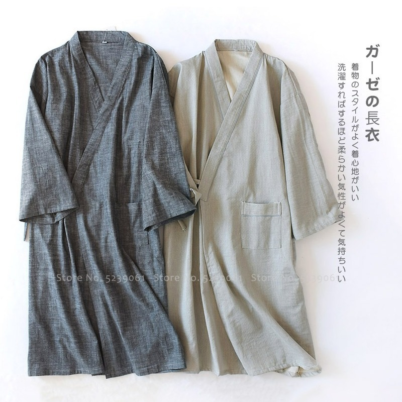 Japanese Traditional Bath Robe Men Kimono Sleepwear Yukata Man Chinese Hanfu Pajamas Gown Japan Cotton Aodai Haori Coat Cardigan