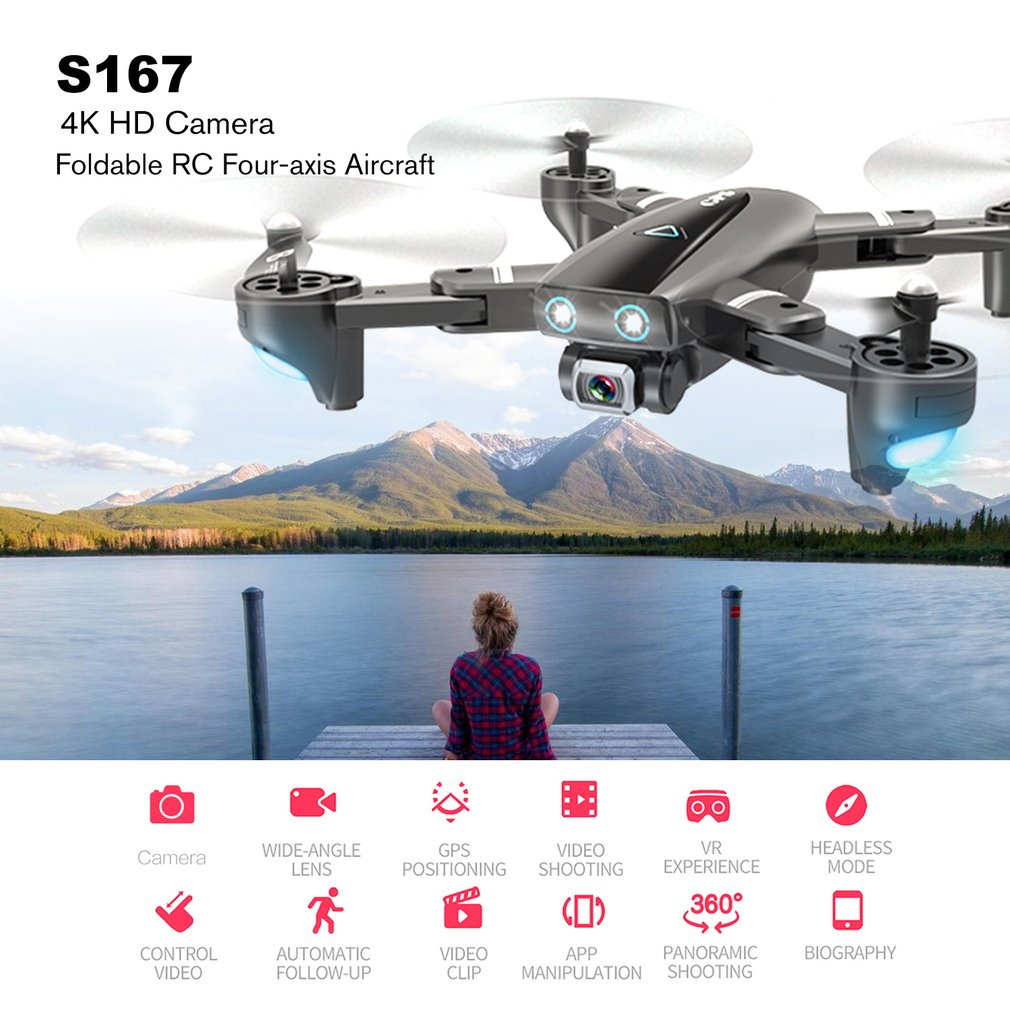 S167 GPS Drone With Camera 5G RC Quadcopter Drone 4K WIFI FPV Foldable Off-Point Flying Gesture Photos Video Helicopter Toy