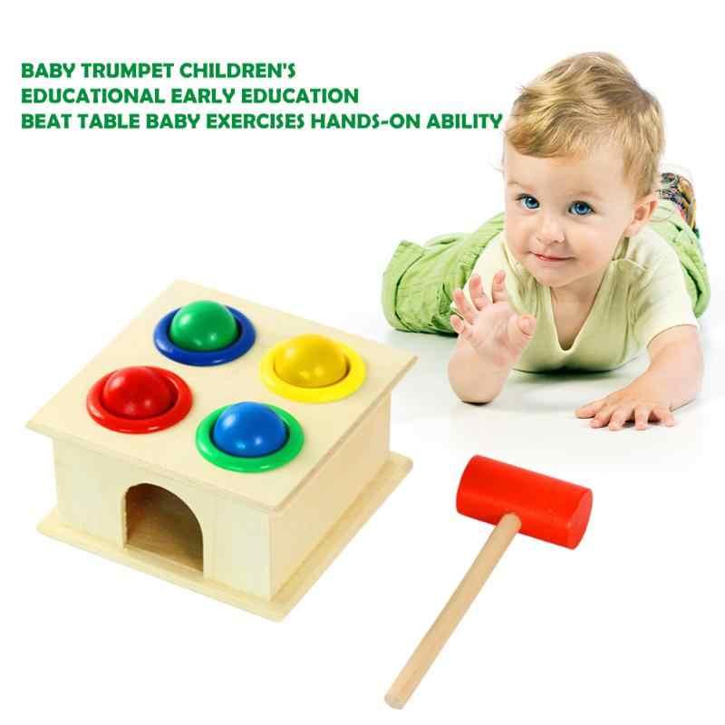 Caixa de martelo quadrado bater bola mesa montessori primeira infância brinquedo ensino crianças cor forma cognição brinquedos educativos presentes