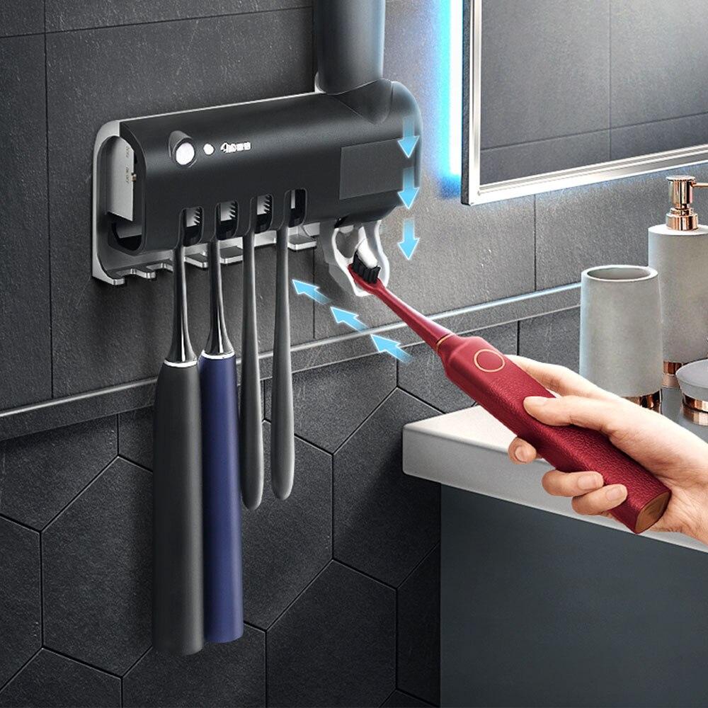 Suporte de escova de dentes, esterilizador de carga de energia solar, esterilizador, automático, dispenser para apertar creme dental, acessórios de banheiro em casa