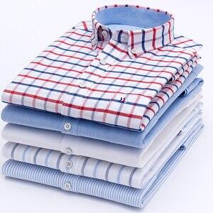 Image 2 - 2020 wysokiej jakości męskie koszule z długim rękawem 100% bawełna Oxford umyć paski dopasowana, w stylu Casual slim dopasowane koszule dla mężczyzn