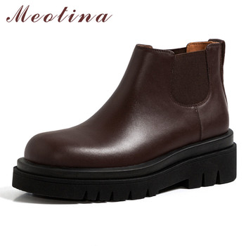 Meotina Women Ankle Boots Shoes Real Leather Platform High Heel Chelsea Boots Round Toe Chunky Heels Slip On Short Boots Brown split toe genuine cow leather ankle boots women round chunky high heels short boots shoes ninja tabi boots