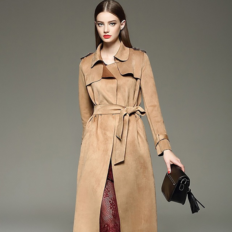 Long Coat Women Trench With Belt Formal Women Khaki Long Sleeve Cover Casual Cotton Turn-down Collar Pockets Windbreaker Elegant
