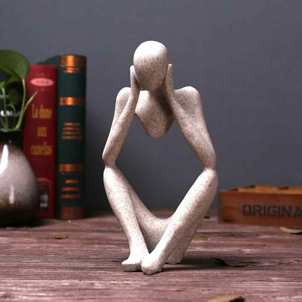 クリエイティブ樹脂彫像抽象思想家人像彫刻置物 Diy 装飾クラフトオフィス家の装飾